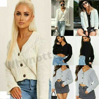 £8.93 • Buy Women's Chunky Cable Knitted Cardigan Ladies 3Button Long Sleeves Crop Top Short