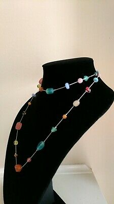 $ CDN8.45 • Buy Lia Sophia Necklace Silver With Multi Color Glass Beads 36  Long