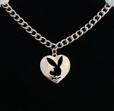 £11.99 • Buy Womens Playboy Bunny Rabbit Silver Stainless Steel Heart Chain Pendant Necklace