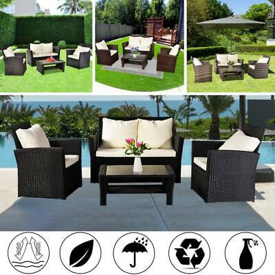 Rattan Garden Sofa Furniture Sets Patio Conservatory 4 Seaters Armchairs Table • 449.95£