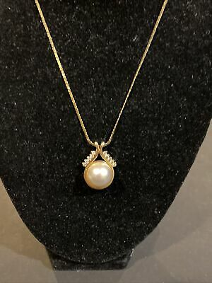$650 • Buy Vintage Solid 14k Yellow Gold Mabe Pearl Genuine Diamonds Pendant Necklace