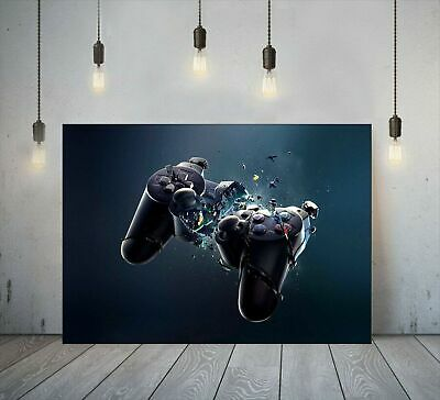 Playstation Exploding Controller Gaming Canvas Printed Wall Art Gamer Print • 24.99£