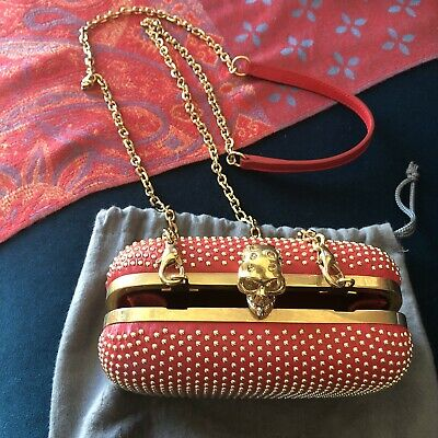 AU750 • Buy Alexander Mcqueen Bag Red With Gold Studs
