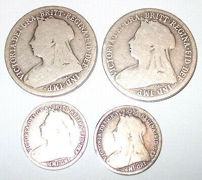 FOUR COINS. VICTORIA. 2xONE SHILLING & 2xTHREE PENCE. DATED. SILVER. ENGLAND.  • 15.99£