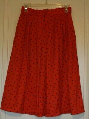 £10 • Buy Handmade Vintage Style Skirt Red With Black Polka Dot Spots A Line Size 10