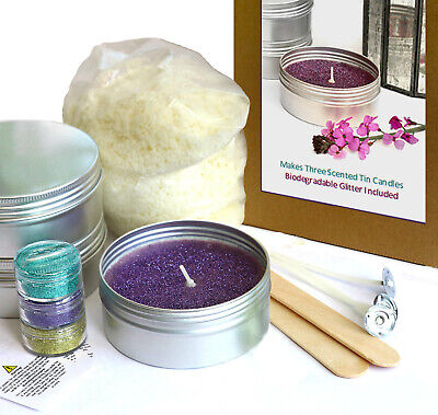 £15.99 • Buy TIN CANDLE MAKING KIT & BIODEGRADABLE GLITTER Scented Fragrance Eco Soy Wax KV