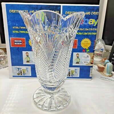 Waterford Crystal Seahorse Footed Vase 10  Scalloped Edge #108095  • 108.03£