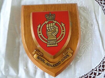 Vintage Regimental Royal Armoured Corps Shield Plaque Wooden Wall Mount • 12£