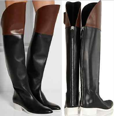 AU623.16 • Buy  Alexander Wang LOW HEEL  BLACK&BROWN LEATHER OVER THE KNEE BOOTS EU 40 US 10