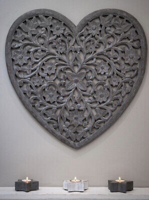 £74.50 • Buy Large Hand Carved Distressed Grey Mango Wood Art Heart Wall Panel Decoration