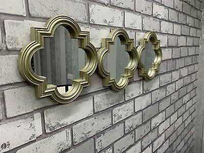 £15.75 • Buy Set Of 3 Melena Moroccan Mirrors Wall Hanging Mirrors Home Decor Modern - Gold