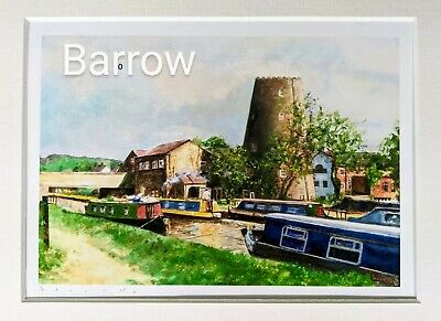 £20 • Buy Barge / Canal Boat / Windmill / Art Print / David Barrow/ Landscape / Parbold