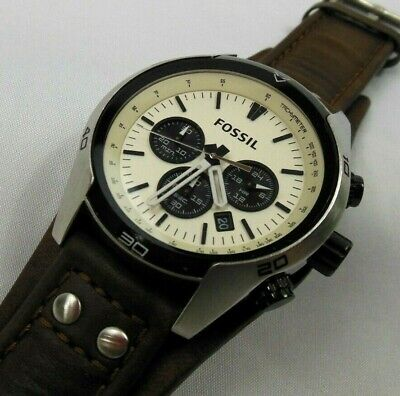 $ CDN29.37 • Buy Fossil Mens Thick Leather Chronograph Watch CH-2890, 10   Band