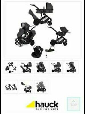 Hauck Duett 3 Tandem Travel System With Car Seat And Raincovers / Double Buggy • 76£
