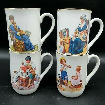 $ CDN23.90 • Buy Norman Rockwell 4 Pc Mug Cup Set Vintage In Box 1983 Norman Rockwell Museum