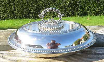 £59.99 • Buy Antique Silver Plated Entree Dish /Covered Vegetable Dish, Beaded Atkin Brothers