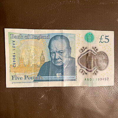 Collectable AA 01 Low Number, Circulated £5.00 Five Pound Note. No: AA01 199452 • 7£