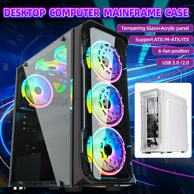 AU53.59 • Buy ATX/MATX/ITX Gaming Computer PC Case Mid Tower Tempered Glass Clear Side Panel