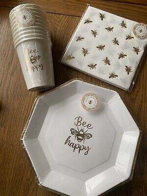 £14.99 • Buy Bee Gold Bumble Bee Disposable Birthday Party Tableware Cups Plates Napkin