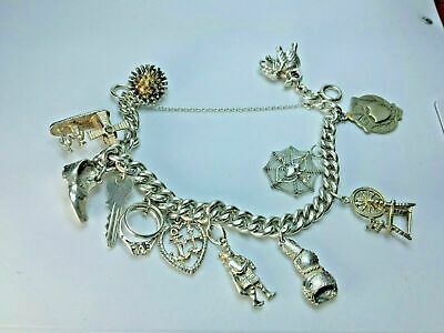 Silver 925 Vintage Charm Bracelet With Charms 8  ~ 66 Grams • 50£