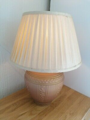 Vintage Greek Style Lamp Terracotta And Gold Colour With Pleated Silk Shade • 10£