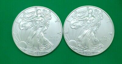 AU60.30 • Buy 2021 (2coins) $1 American Silver Eagle 1oz Coin (straight Out Us Mint Rolls)