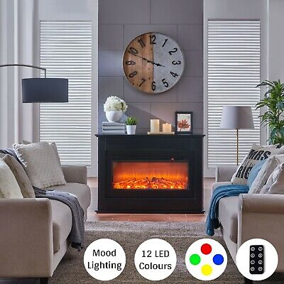 Black LED Electric Fireplace Log Burning Flame Effect Standing Fan Heater 1.5KW • 249.99£