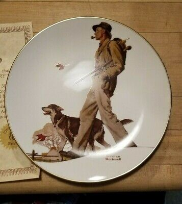 $ CDN10.03 • Buy 4 Norman Rockwell Plates Walk In The Country Man W Dog & Pipe New/org Box Gift