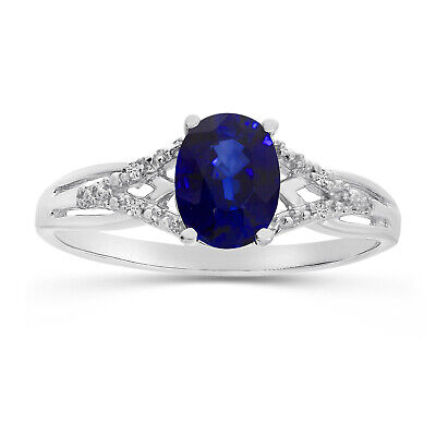 AU1135.60 • Buy 14k White Gold Oval Sapphire And Diamond Ring