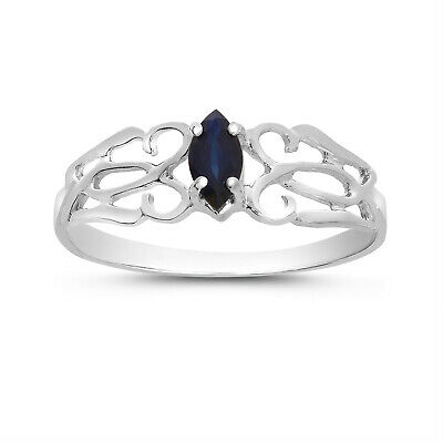 AU358.40 • Buy 14k White Gold Marquise Sapphire Filagree Ring