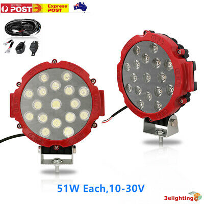 AU59.99 • Buy Pair 7 Inch Spot LED Driving Lights Spotlights Offroad 4x4 Red Work Round Aus