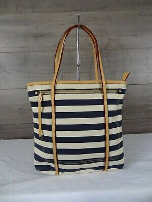 AU65.53 • Buy MZ Wallace Stripe Blue White Canvas Leather Tote Shoulder Bag Handbag