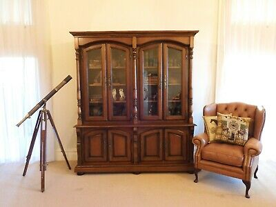 AU3500 • Buy French Vintage Large Library Bookcase Bibliotheque Walnut