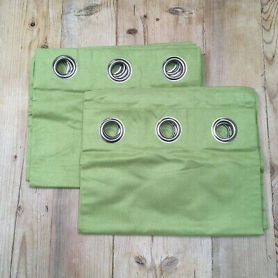 £24.99 • Buy Dunelm Mill 66w X 54d Lime Green Faux Suede Metal Eyelet Top Curtains - Unused
