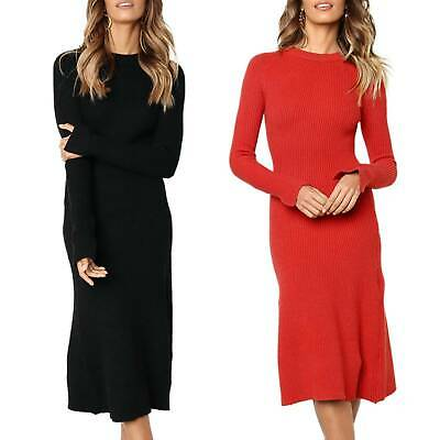 AU22.19 • Buy Women Bodycon Dress Knitted Ribbed Midi Slim Sweater Long Sleeve Jumper Dresses