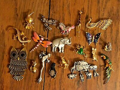 $ CDN12.54 • Buy Lovely Vintage Estate Animal Jewelry Lot Pins Brooches Pendants