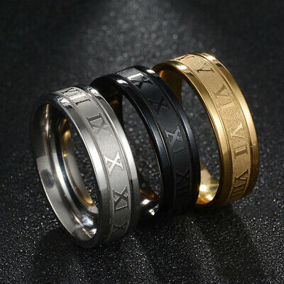 £1.59 • Buy Fashion Roman Numeral 6MM Titanium Stainless Steel Round Rings Men Size 6-12