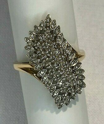 AU775 • Buy Diamond 9ct 375 Yellow Gold Large Abstract Statement Ring US7