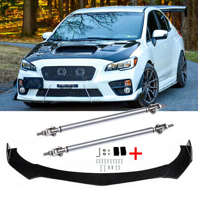 $89.49 • Buy For Subaru WRX STI Car Front Bumper Lip Spoiler Splitters Body Kit + Strut Rods