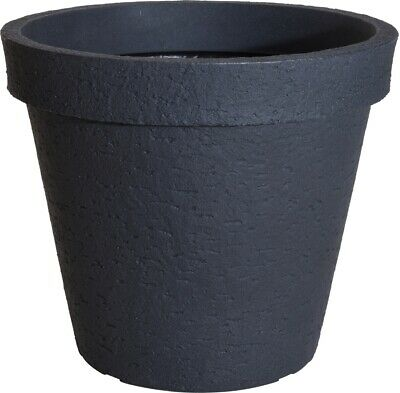 £23.99 • Buy Anthracite Stone Large Plant Pot Outdoor Garden Tall Round Plastic Tree Planter