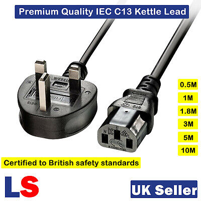 £4.77 • Buy 3 Pin UK Plug Kettle Lead Mains Power Cable PC TV For Samsung LG Sony Panasonic