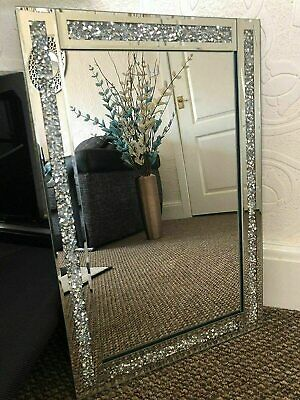 £28.99 • Buy Large Crushed Diamond Jewel Framed Silver Bordered Wall-Mounted Mirror 40x60cm