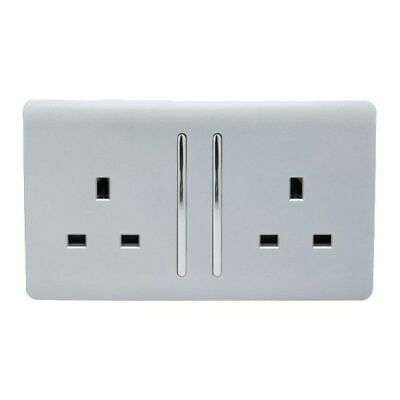 £10.99 • Buy  Long Switched Silver 2 Gang 13 Amp Electrical 3 Pin Double Wall Plug Socket