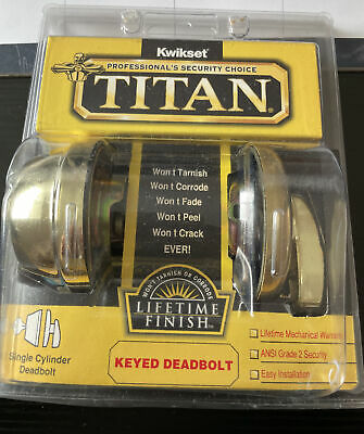 $ CDN30.24 • Buy Kwikset Titan Keyed Deadbolt Single Cylinder Entry Grade 2 Security NEW NOS