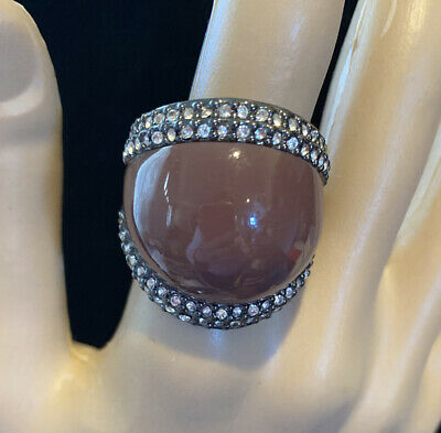 $ CDN12.52 • Buy Lia Sophia Kiam Family Brown Dome Crystal Ring Size 9 ~ Some Peeling On Back