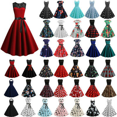 AU19.09 • Buy Plus Size Women Rockabilly Gown Swing Pinup Dress Evening Party Cocktail Dresses