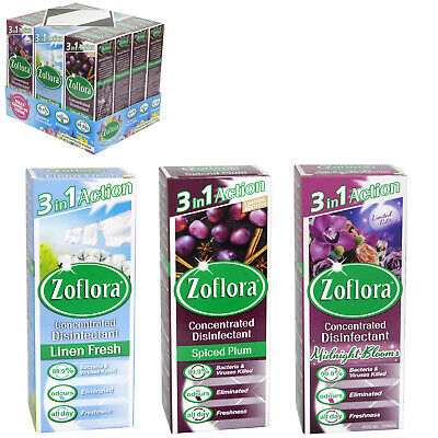 £20.99 • Buy Zoflora 120ml Concentrated Disinfectant Midnight Blooms, Spiced Plum & Linen X12