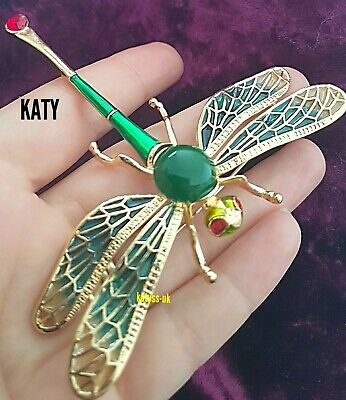 £7.20 • Buy Large Dragonfly Crystal Broach Vintage Style Green Gold Pendant BROOCH Pin Gift
