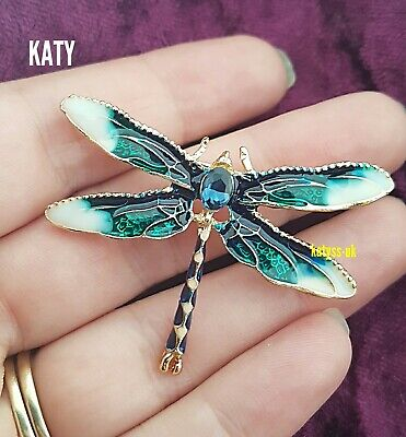 £4.60 • Buy Blue Dragonfly Crystal Broach Vintage Look Insect Diamante Green BROOCH Pin Gift