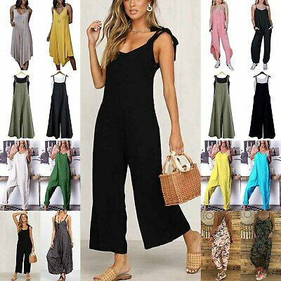 AU35.43 • Buy Womens Holiday Casual Jumpsuit Playsuit Ladies Comfy Rompers Dungarees Overalls